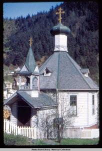 St Nicholas Orthodox Church, 1894 Club. A 1948 image of St. Nicholas Orthodox Church. the dome is blue and not gold.