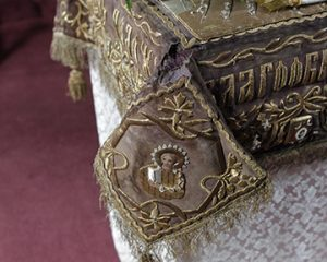 Close up of the damage to the Epitaphion, manufactured around 1892