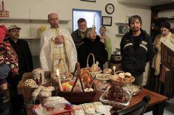 Paschal Sheet Music. Fr Eugene Wozniak at the blessing of baskets.