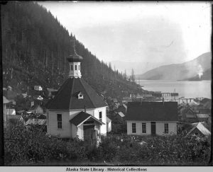 Black and white Image of St Nicholas and Church school (between 1895 and 1905). Before the Bell-tower was constructed.