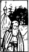 Menaion August 9 - Line Drawing of St. Herman of Alaska
