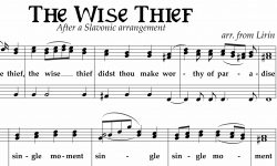 "Close up of sheet music for ""the Wise Thief"""